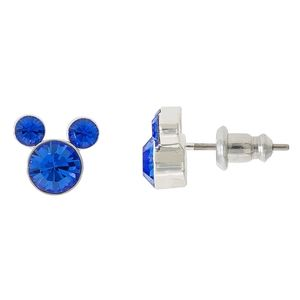 Silver plated Mickey faux sapphire earrings